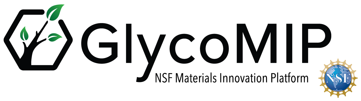 GlycoMIP Logo - hexagon with a tree within and leaves in a green gradient.